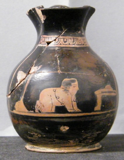 Attic red-figure pottery chous depicting a baby