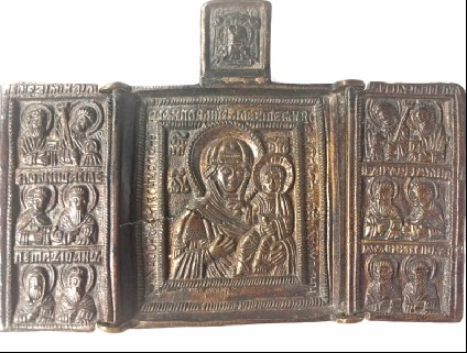 Triptych possibly depicting the venerable image of the Virgin of Smodensk