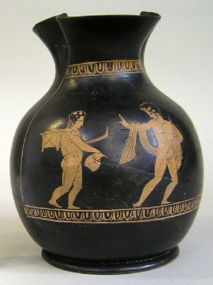 Attic red-figure pottery chous depicting a komos scene