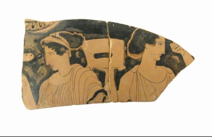 Attic red-figure pottery lebes gamikos fragment depicting a domestic scene