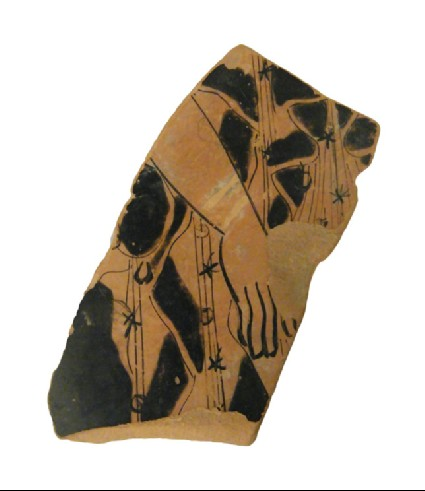 Attic red-figure pottery closed vessel sherd depicting a domestic scene