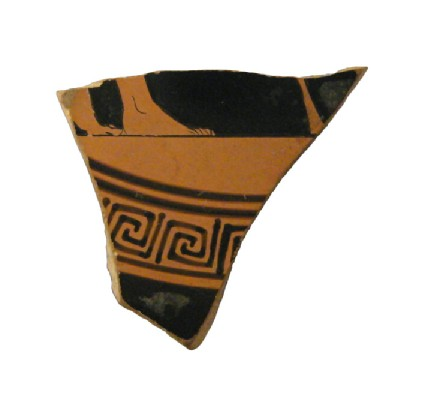 Attic red-figure pottery stemmed cup sherd depicting a symposiastic scene