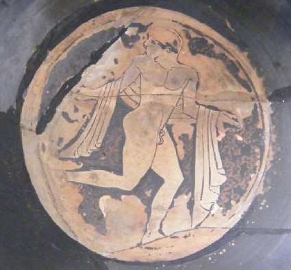 Attic red-figure pottery acrocup depicting a naked youth