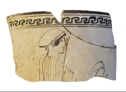 Attic red-figure white-ground pottery lekythos fragment depicting a possible funerary scene