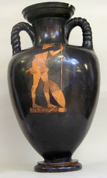 Attic red-figure pottery amphora depicting a warrior scene
