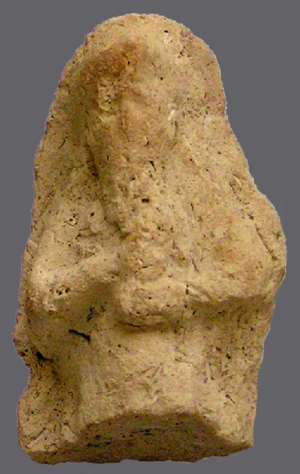 Fragmented figurine of bearded man holding cup