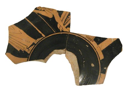 Attic red-figure pottery stemmed cup fragment depicting a processional scene