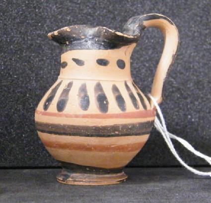 Attic black-pattern pottery miniature oinochoe