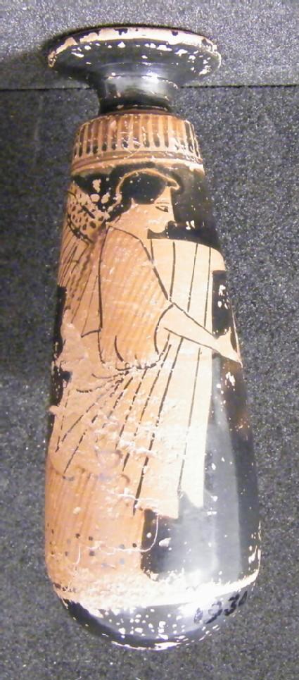 Attic red-figure pottery alabastron depicting a mythological scene