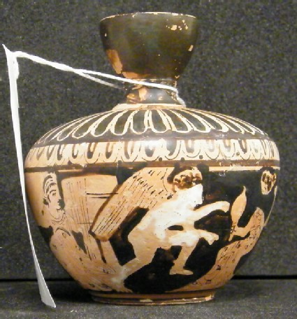 Attic red-figure pottery unguent jar depicting a domestic scene