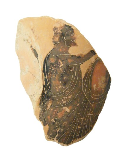 Attic black-figure pottery loutrophoros sherd depicting a mourning scene