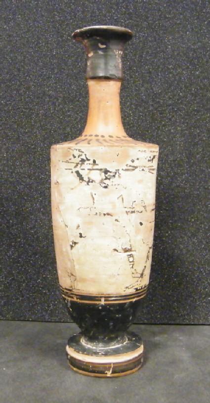 Attic black-figure white ground pottery lekythos depicting a battle scene