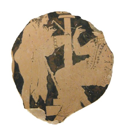 Attic red-figure pottery stemless cup sherd depicting a mythological scene