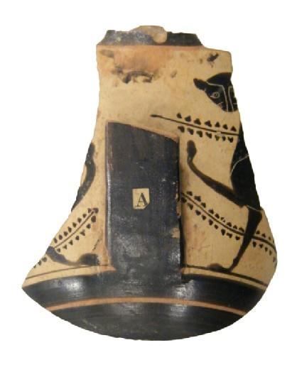 Attic black-figure pottery kyathos fragment