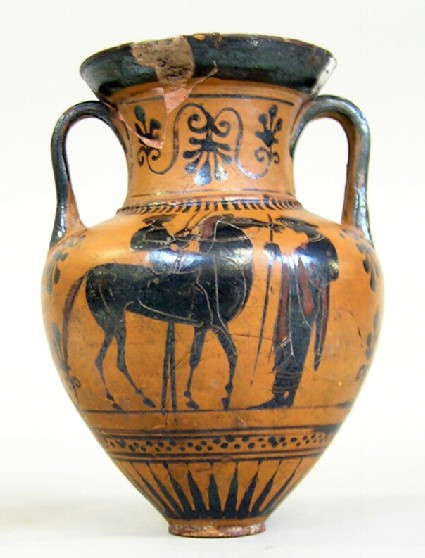Attic black-figure pottery amphora depicting a race