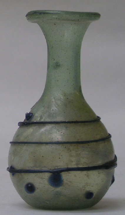 Glass flask ornamented on body with raised spiral thread and knobs of blue glass