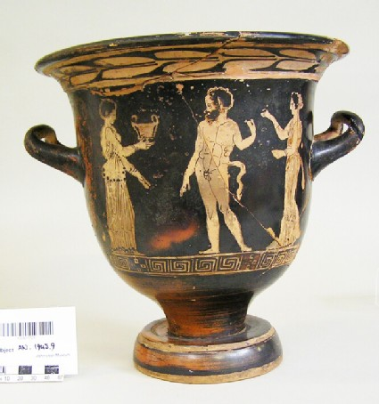 Attic red-figure pottery krater depicting a Dionysiac scene
