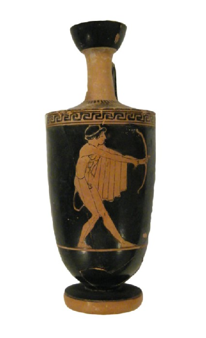 Attic red-figure pottery lekythos depicting an archer