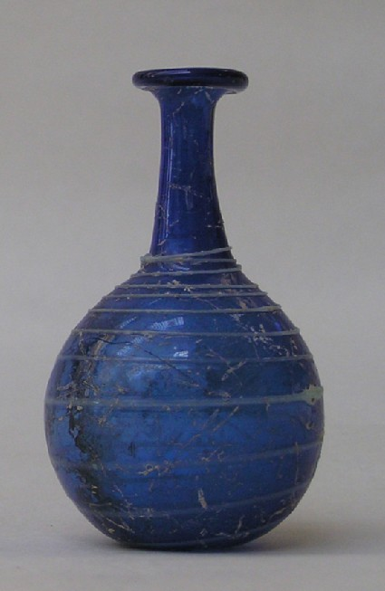 Glass flask decorated with white spiral thread on body