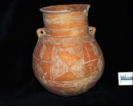 Red Polished incised amphoroid jar with small lug handles