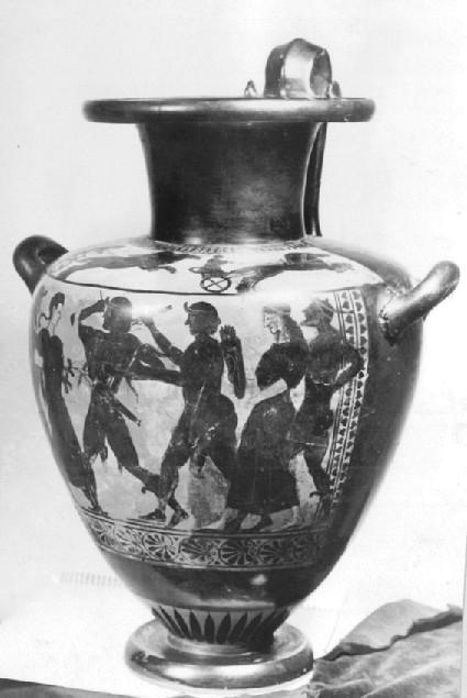 Attic black-figure hydria depicting a mythological scene