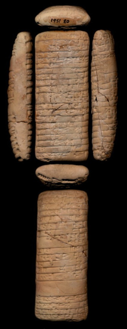Clay tablet with cuneiform inscription, list of cattle
