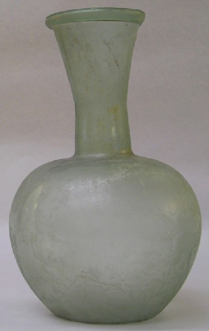 Rounded clear glass flask