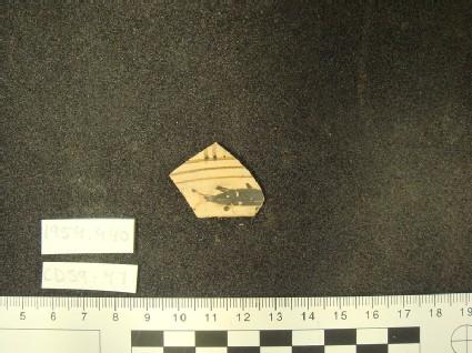 Early Proto-Corinthian kotyle fragment, fish