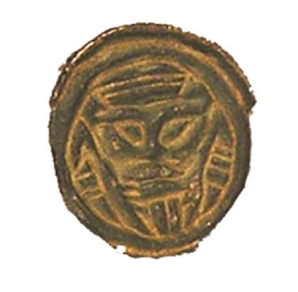 Button brooch with stylized anthropomorphic face-mask