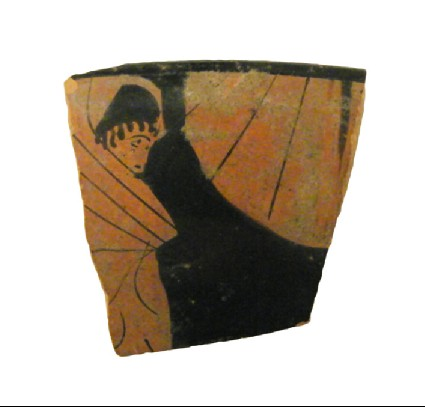 Attic red-figure pottery cup sherd