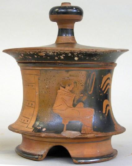 Attic red-figure pottery pyxis depicting a domestic scene