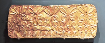 Gold frontlet, decorated with embossed spirals and flowers