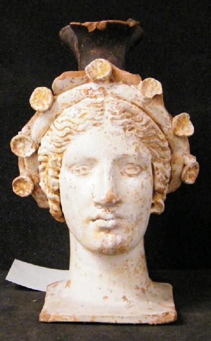 Attic red-figure white ground pottery head oinochoe