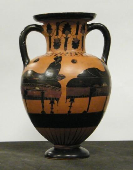 Chacidian black-figure neck-amphora depicting a symposiastic scene