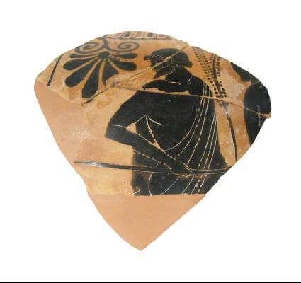 Attic black-figure pottery amphora fragment depicting an athletics scene