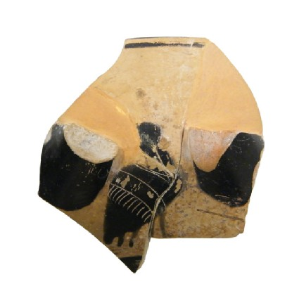 Attic black-figure stemmed pottery cup fragment depicting a mythical creature