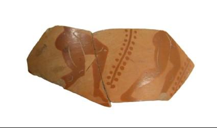 Attic black-figure pottery cup fragment depicting an athletics scene