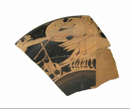 Attic red-figure stemmed pottery cup fragments depicting a battle scene