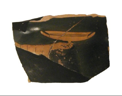 Attic red-figure pottery column-krater fragment depicting a symposiastic scene