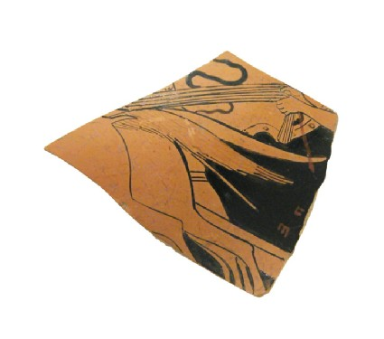 Attic red-figure pottery stemmed cup sherd depicting a mythological scene