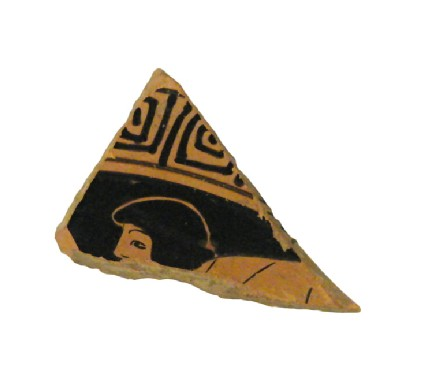 Attic red-figure stemmed pottery cup sherd