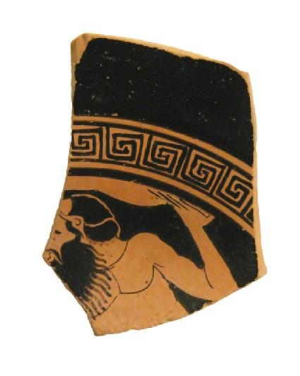Attic red-figure pottery stemmed cup sherd depicting a mythological scene
