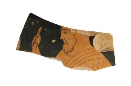 Attic red-figure pottery krater sherd depicting an elderly male figure