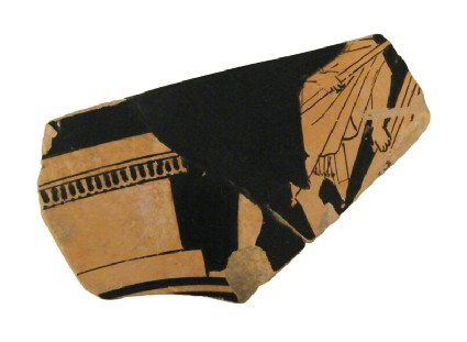 Attic red-figure pottery cup fragment depicting a religious scene
