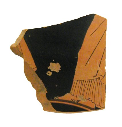 Attic red-figure stemmed pottery cup fragment depicting a scene of daily life