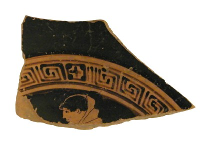 Attic red-figure stemmed pottery cup sherd depicting a scene of daily life