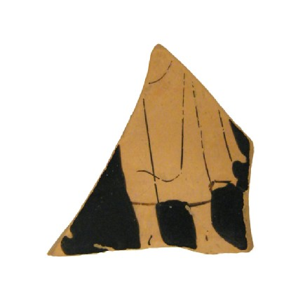 Attic red-figure pottery cup fragment depicting a scene of daily life