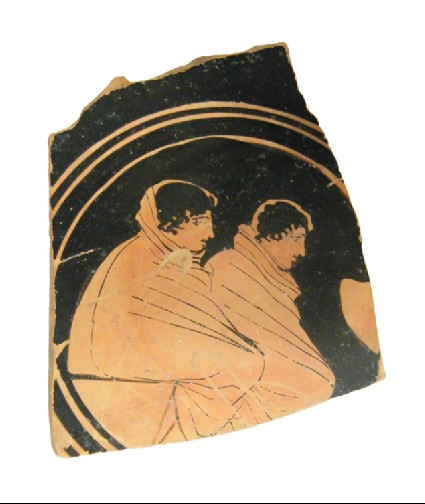 Attic red-figure stemmed pottery cup fragment