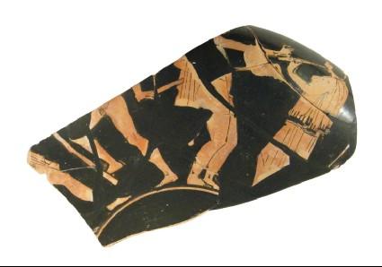 Attic red-figure pottery stemmed cup fragment depicting a mythological scene