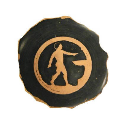 Attic red-figure pottery cup fragment depicting an athletics scene